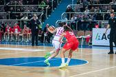 Basketball game Russia Spain — Stock Photo