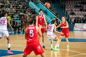 Basketball game Russia Spain — Stock Photo