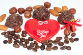 Heart chocolate candy on Valentines day — Foto Stock