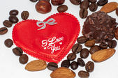 Heart chocolate candy on Valentines day. — Stock Photo