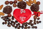 Heart chocolate candy on Valentines day. — Stok fotoğraf