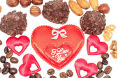 Heart chocolate candy on Valentines day. — 图库照片