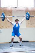 Heavy athletics, weightlifter — Stock Photo