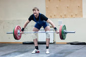 Heavy athletics, weightlifter — Stock Photo