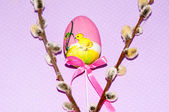 Painted Easter egg and a pussy-Willow sprig — Stock Photo
