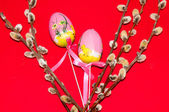 Painted Easter egg and a pussy-Willow sprig. — Stock Photo
