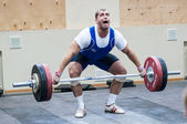Heavy athletics, weightlifter... — Stock Photo