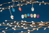 Painted Easter egg and a pussy-Willow sprig... — Stock Photo