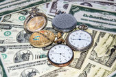 Pocket watches and money — Stok fotoğraf