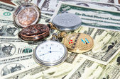 Pocket watches and money — Foto de Stock