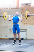 Heavy athletics, weightlifter... ... — Stock Photo