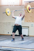 Heavy athletics, weightlifter... ... — Stock Photo