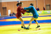 Sambo or Self-defense without weapons. Competitions girls... ... — Stock Photo