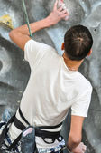 Competition rock climbing — Stock Photo
