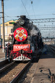 Vintage steam locomotive at the station of Orenburg — Stock Photo