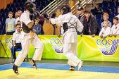 Kobudo competition between boys. — Stock Photo