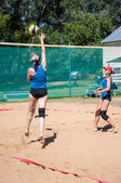Beach volleyball play girls — Stock Photo
