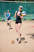 Beach volleyball play girls, — Stock Photo