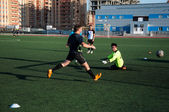 Soccer game The goalkeeper number 20 — Stok fotoğraf