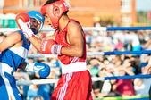 A boxing match Javier Ibanez, Cuba and Malik Bajtleuov, Russia. Defeated Javier Ibanez — Stock Photo