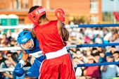 A boxing match Javier Ibanez, Cuba and Malik Bajtleuov, Russia. Defeated Javier Ibanez — Stock Photo