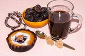 Pastel de café las fechas y el cristal de azúcar navati — Foto de Stock