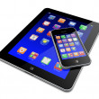 Tablet PC with mobile phone — Stock Photo #13214941
