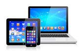 Computer portatile, tablet pc e smartphone — Foto Stock