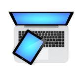 Laptop en tablet pc — Stockfoto