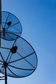Two satellite dishes — Stock Photo