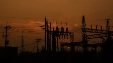 Power substation at sunrise, time lapse — Stock Video