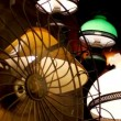 Old fan and lamp on antique market — Stock Video #23041444