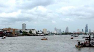 Timelapse of Chao Phraya River Bangkok thailand — Stock Video