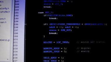Computer code on LCD monitor — Vídeo Stock