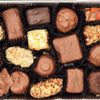 Chocolate candies in the box — Stock Photo