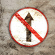 Royalty-Free Stock Photo: Not go straight rusty sign