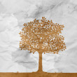 Tree on white wrinkle paper — Stock Photo