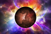 Red planet with aura — Stock Photo
