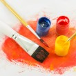 Stock Photo: Color paint background and brush