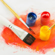 Color paint background and brush — Stock Photo