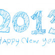 Stock Photo: Handwriting crayon sketch newyear 2013
