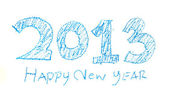 Handwriting crayon sketch newyear 2013 — Stock Photo