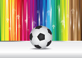 Soccer ball with color stripe background. — Stock Vector