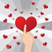 Hand pushing heart — Stock Vector