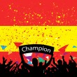 Stock Vector: Crowd cheer spain