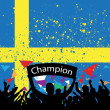 Stock Vector: Crowd cheer sweden