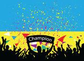 Crowd cheer ukraine — Stock Vector