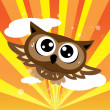Owl flying quickly — Stock Vector