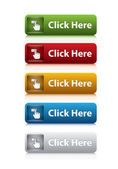 Set of click here button for website 5 color — Stock Vector