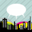 City with speech balloon — Stock Vector